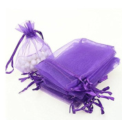 Liroyal 50pcs jewellery wedding organza gift bags Purple
