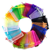 G2PLUS Multicolor Organza Wedding Favour Bags 100 PCS Gift Jewellery Pouches 10 CM * 12 CM Perfect for Wedding, Christmas, Birthday, Anniversary - Random Colour