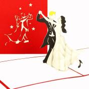 3D Pop Up Card – Dancing Couple – Wedding Cards Wedding Invitations Invites, Wedding Invitations, Bride and Groom/Dancing Couple Gift Voucher Gutschein Dance Dancing Course