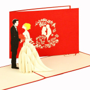 """'3D """"Wedding Couple – Pop-Up Cards, Wedding Invitations Wedding Card – Handmade 3D Wedding Cards Wedding Invitations with Envelopes, Safe The Date Cards"""