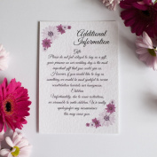 30 Personalised Additional Info Cards for Purple Daisy Wedding Invitations 300gsm with white envelopes