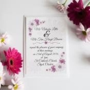 30 Personalised Purple Daisy Wedding Invitations 300gsm with white envelopes
