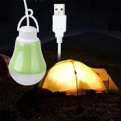 Fengh Portable USB Powered LED Bulb Lamp 1M Cable Light Green Shell DC 5V 3W