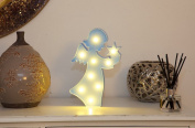 Decorative and Fun Blue Plastic Light Up Angel Standing Light with 9 Warm White Lights