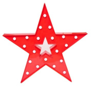 Decorative and Fun Red Plastic Light Up Star with Warm White Bulbs