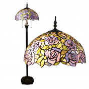 Gweat Tiffany 41cm Purple Flower European Pastoral Style Elegant Luxury Creative Handmade Stained Glass Tiffany Floor Lamp