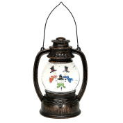 LED Lantern with Santa, Snowman and Holy Family Glitter, about 20 cm Schneemann