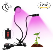 Plant Growth Lamp, Horticultural Plant Lighting with Double Head 12W with 3 Modes Timer 32 LED Swan Neck Flexible 360 °to Promote Plant Growth, Used Inside & Outdoor Plant Farms - with USB Interface