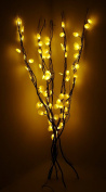 100cm Branch Lights With Warm White LED Lights & Silver Disc Decoration