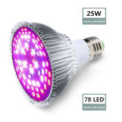 EUGO 25W Real Grow Light ,120 Degree LED Grow Light Bulbs for Greenhouse, Bonsai and Hydroponic Garden, Full Spectrum Indoor Garden Growing Lamps with Wide Area Coverage