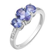 Silvertone Tanzanite and Diamond Accent Ring