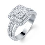 10k White Gold 3/4ct TDW Halo Diamond Bridal Ring
