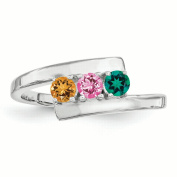 Sterling Silver Synthetic 3 Stone Mother's Ring