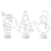 3 PCS Merry Christmas Multi Colour Night Light Xmas Tree Santa Claus Snowman Decor Ornament Light For Home Shop Window Christmas Tree Party