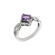 Sterling Silver Diamond & Amethyst Ring