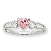 10k White Gold Polished Geniune Pink Tourmaline Birthstone Ring
