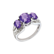 Sterling Silver Checker-Cut Amethyst & Diamond Ring