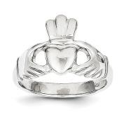 10k White Gold Polished Claddagh Ring