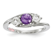10k White Gold Clear & Purple Topaz Sue Ring Size 7
