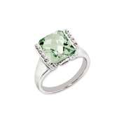 Sterling Silver Octagonal Checker-Cut Green Quartz & Diamond Ring
