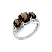 Sterling Silver Checker-Cut Smoky Quartz & Diamond Ring