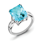 Sterling Silver Octagonal Blue Topaz Ring