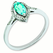 Sterling Silver Diamond & Light Swiss Blue Topaz Ring