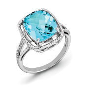 Sterling Silver Checker-Cut Blue Topaz Ring