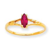 10k Polished Geniune Ruby Birthstone Ring
