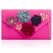Xardi London Soft Duchess Satin Ladies Party Wear Clutches Lightweight Women Floral Bridal Wedding Bag Medium Envelope Shaped Evening Hen Prom Party Purse With Chain Strap