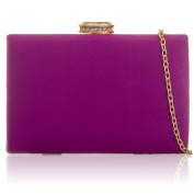 Xardi London Hard Frame Boxed Shaped Faux Suede Clutch For Women Wedding Bridal Evening Prom Party Christmas Bridesmaid Bags with Long Chain Strap