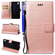 EUWLY Leather Case for Sony Xperia L1, Sony Xperia L1 PU leather Cover with Elephant Embossing Stylish Yet Simple Design PU Leather Bookstyle Wallet Case Magnetic Closure with Stand Function PU Leather Wallet Flip Cover Sleeve Card Slot and Banknotes P ..