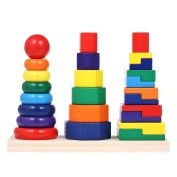 Decdeal Wooden Rainbow Stacking Ring Tower Building Block Jenga Stack Up Toys Early Educational Toys Gifts for Baby Kids Child