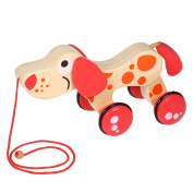 Decdeal Cute Wooden Dog Tractor Dragging Car Twisting Toys Animal Puppy Outdoor Toys Gifts for Kids