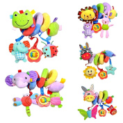 MagiDeal 5Pcs Cute Spiral Activity Stroller Car Seat Cot Lathe Hanging Bell Baby Play Travel Toys Newborn Baby Rattles Infant Soft Plush Toys