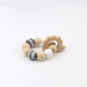baby tete Baby Nursing Accessories Wood Teether Knitted Bead With Bracelet Mom Kids Jewellery Infant Shower Gift