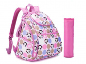 COLORLAND Mary Petite Baby Changing Backpack, Pink Monkey Madness