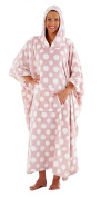 Womens Inspirations Hooded Luxury Polka Dot Lounger Poncho