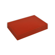 Set of 6 Glass Placemats. Dinner Table Placemats - Red - 300 x 200mm