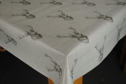 Highland Stag Grey PVC 200 x 140cm Wipe Clean Tablecloth by Karina Home