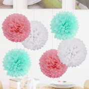 """12""""(30cm) Mixed Colour Tissue Paper Pom Poms Flowers White Pink & Mint, 6PCS Tissue Paper Handmade Balls for Wedding Birthday Party Baby Bridal Shower Christmas Home Hanging Decorations"""