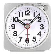 Small Lightweight Travel Alarm Clock,Famicozy Silent Non Ticking Analogue Alarm Clock with Snooze and Light,Sound Crescendo,Mini Quartz Alarm Clock,Battery Operated