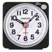 Small Lightweight Travel Alarm Clock,Famicozy Silent Non Ticking Analogue Alarm Clock with Snooze and Light,Sound Crescendo,Mini Quartz Alarm Clock,Battery Operated