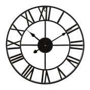 LIVIVO Large Traditional Vintage Style Black Iron Wall Clock with Roman Numerals - Stylish and Elegant 60cm Open Back Skeleton Metal Frame - A Stunning Focal Point for any Room