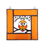 OWL Stained Glass, Hand Painted Sun Catcher, Gift, Window Decoration, Art Glassware, Hand Crafted in South of England