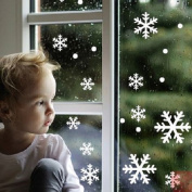 ShineBlue 48pcs Snow Snowflake Window Wall Stickers Decals Clings For Christmas Xmas Not Reusable