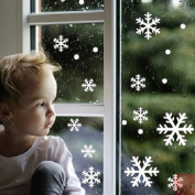 FeiGu 48PCS Snow Snowflake Window Wall Stickers Decals Clings Christmas Xmas Winter Decor Decorations