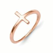 14k Rose Gold Sideways Cross Ring