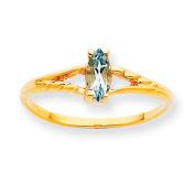 10k Polished Geniune Aquamarine Birthstone Ring