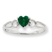 10k White Gold Polished Geniune Emerald Birthstone Ring